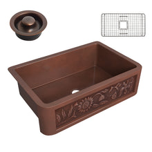 Load image into Gallery viewer, Anatolian Farmhouse Handmade Copper 33 in. 0-Hole Single Bowl Kitchen Sink with Sunflower Design Panel in Polished Antique Copper