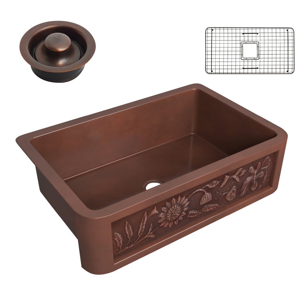 Anatolian Farmhouse Handmade Copper 33 in. 0-Hole Single Bowl Kitchen Sink with Sunflower Design Panel in Polished Antique Copper