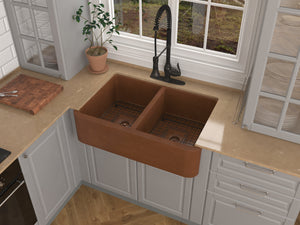 Silesian Farmhouse Handmade Copper 33 in. 50/50 Double Bowl Kitchen Sink with Grape Vine Design in Hammered Antique Copper
