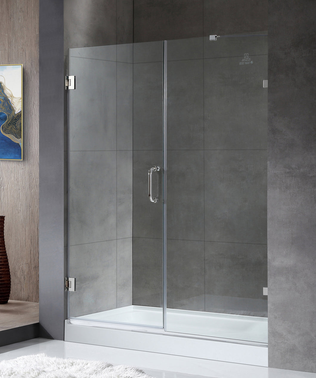 Consort Series 60 in. by 72 in. Frameless Hinged Alcove Shower Door in Polished Chrome with Handle
