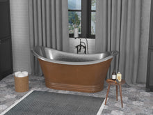 Load image into Gallery viewer, Ionian 67 in. Handmade Copper Double Slipper Flatbottom Non-Whirlpool Bathtub in Hammered Antique Copper