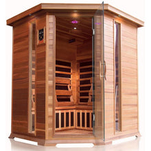 Load image into Gallery viewer, 4 Person Corner Cedar Sauna w/Carbon Heaters - HL400KC Bristol Bay (8-10 Week Lead Time)