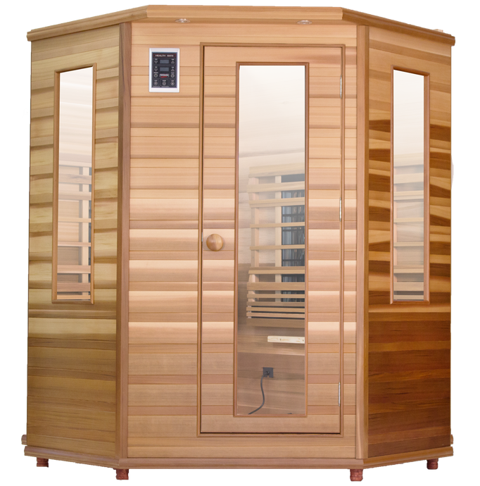 Health Mate Enrich Corner sauna  front facing image with plain blank background