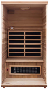 Health Mate - Renew I Infrared Sauna front panel removed to show inside structure