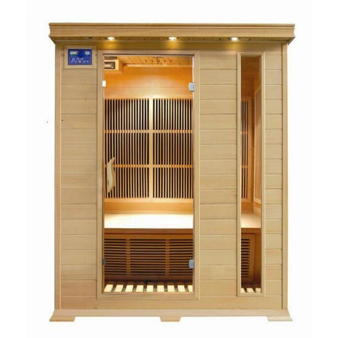 3 Person Hemlock Sauna w/Carbon Heaters - HL300C Aspen (8-10 Week Lead Time)