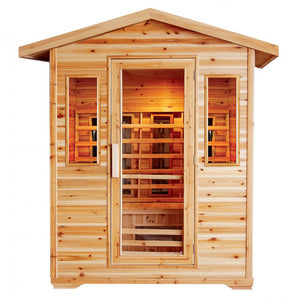 4 Person Outdoor Sauna w/Ceramic Heaters - HL400D Cayenne (8-10 Week Lead Time)