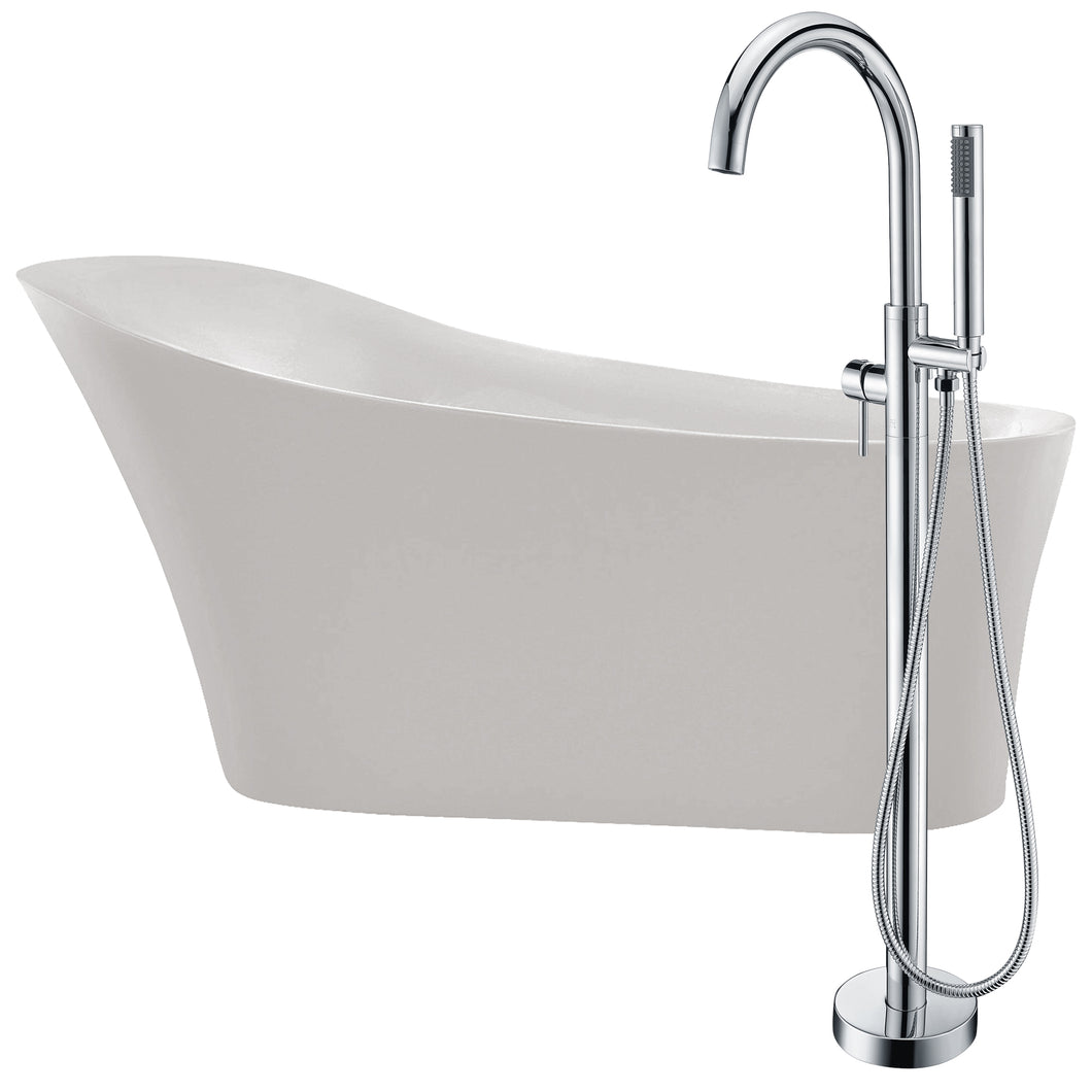 Maple 67 in. Acrylic Flatbottom Non-Whirlpool Bathtub in White with Kros Faucet in Polished Chrome