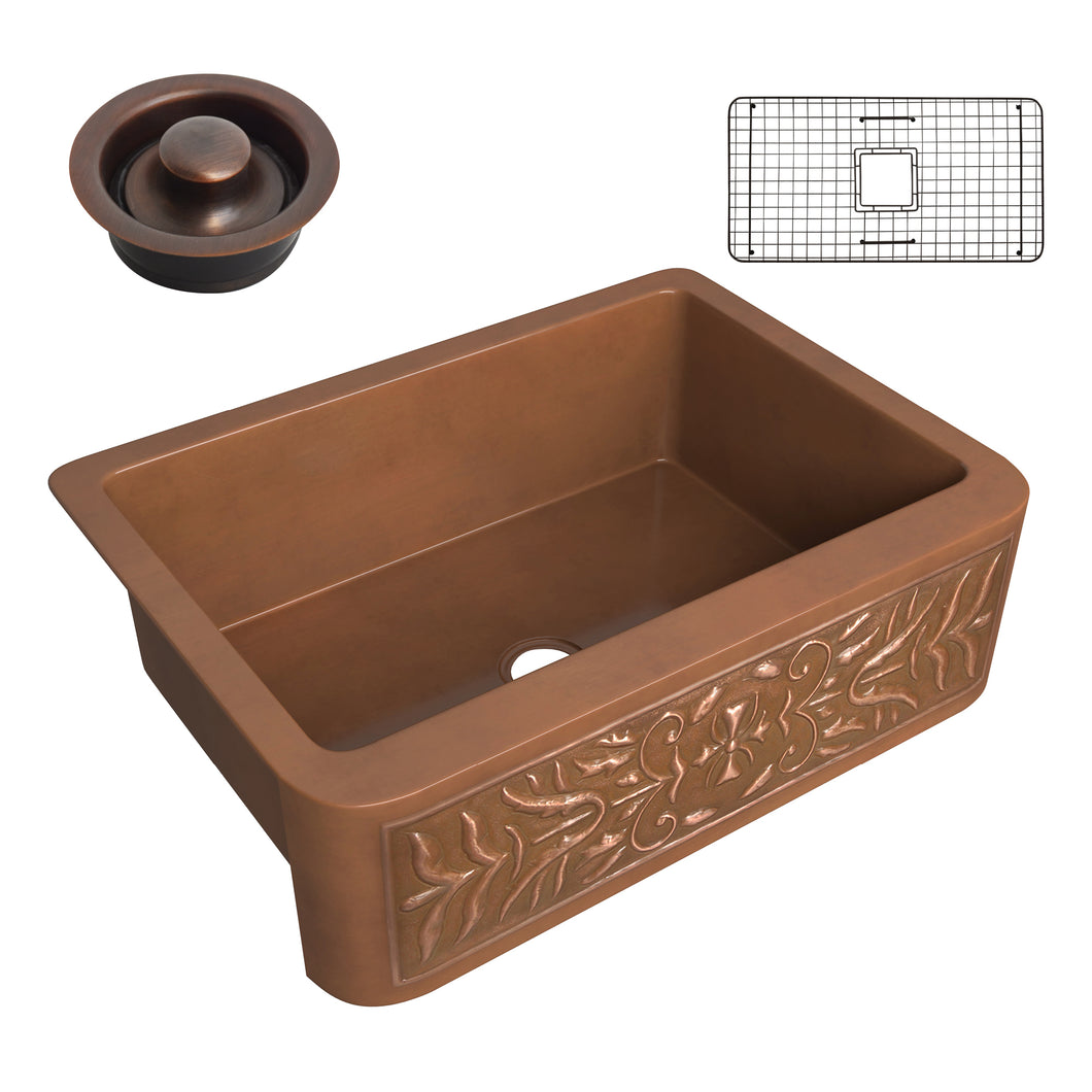 Florina Farmhouse Handmade Copper 30 in. 0-Hole Single Bowl Kitchen Sink with Flower Design Panel in Polished Antique Copper
