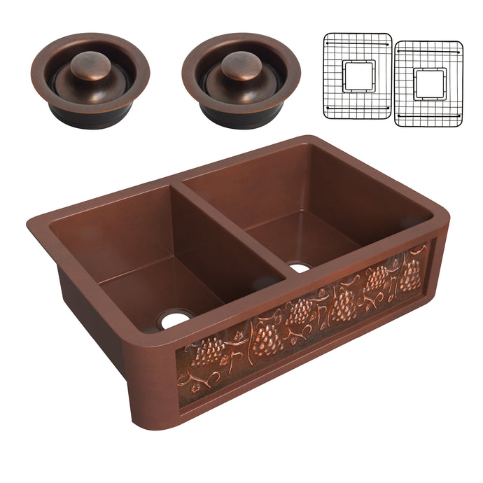 Dalmatia Farmhouse Handmade Copper 33 in. 40/60 Double Bowl Kitchen Sink with Grape Vine Design in Polished Antique Copper
