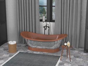 Theodosius 68 in. Handmade Copper Double Slipper Flatbottom Non-Whirlpool Bathtub in Polished Antique Copper