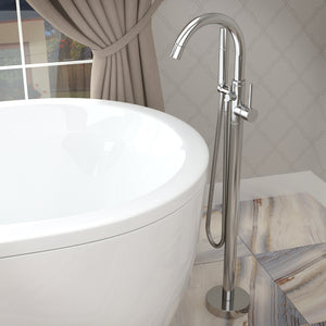 Cestino 5.5 ft. Solid Surface Classic Soaking Bathtub in Matte White and Kros Faucet in Chrome