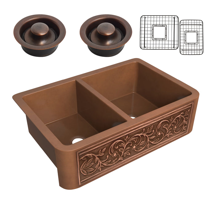 Moesia Farmhouse Handmade Copper 33 in. 60/40 Double Bowl Kitchen Sink with Floral Design in Polished Antique Copper