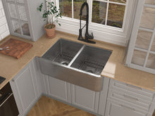 Load image into Gallery viewer, Bengal Farmhouse Handmade Copper 33 in. 50/50 Double Bowl Kitchen Sink in Hammered Nickel