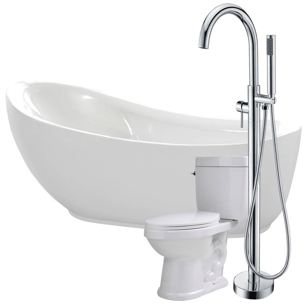Talyah 71 in. Acrylic Flatbottom Non-Whirlpool Bathtub with Kros Faucet and Talos 1.6 GPF Toilet