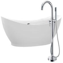 Load image into Gallery viewer, Reginald 68 in. Acrylic Soaking Bathtub in White with Kros Faucet in Polished Chrome