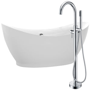 Reginald 68 in. Acrylic Soaking Bathtub in White with Kros Faucet in Polished Chrome