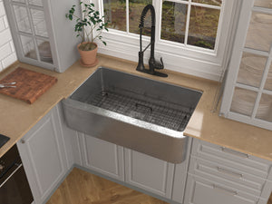 Parthia Farmhouse Handmade Copper 36 in. 0-Hole Single Bowl Kitchen Sink in Hammered Nickel