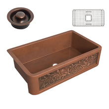 Load image into Gallery viewer, Mytilene Farmhouse Handmade Copper 36 in. 0-Hole Single Bowl Kitchen Sink with Floral Design Panel in Polished Antique Copper