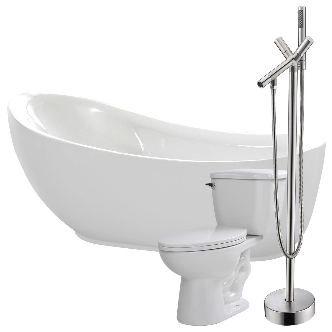 Talyah 71 in. Acrylic Flatbottom Non-Whirlpool Bathtub with Havasu Faucet and Kame 1.28 GPF Toilet