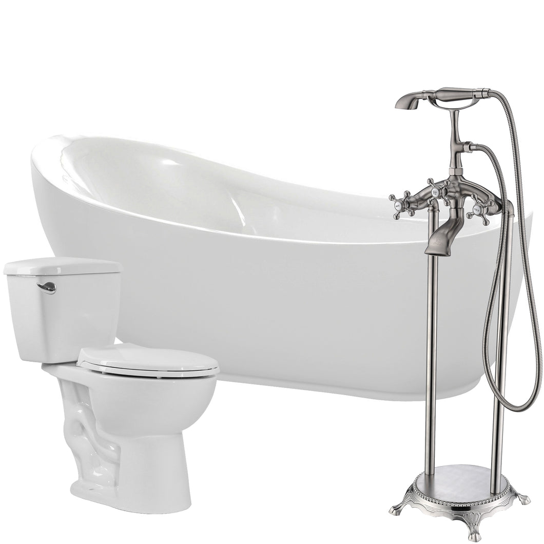 Talyah 71 in. Acrylic Soaking Bathtub with Tugela Faucet and Cavalier 1.28 GPF Toilet