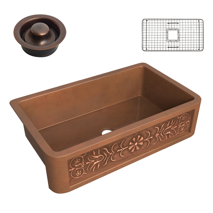 Thracian Farmhouse Handmade Copper 36 in. 0-Hole Single Bowl Kitchen Sink with Flower Design Panel in Polished Antique Copper