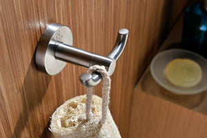 Caster Series Double Robe Hook in Brushed Nickel