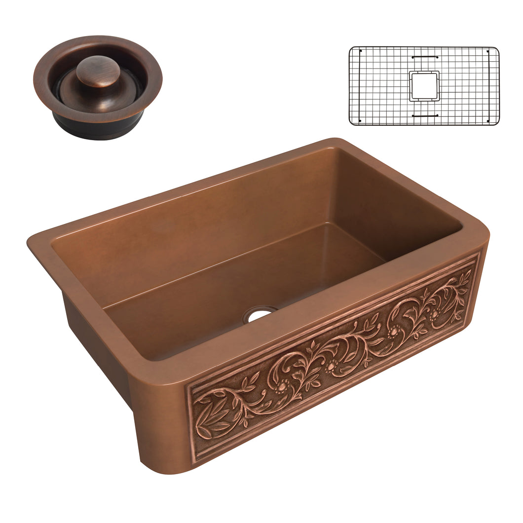 Tripolis Farmhouse Handmade Copper 33 in. 0-Hole Single Bowl Kitchen Sink with Floral Design Panel in Polished Antique Copper