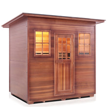 Load image into Gallery viewer, Enlighten Sauna Sierra 5 Person Slope Roof showing right facing view with white background