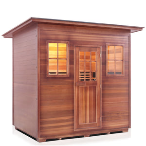 Enlighten Sauna Sierra 5 Person Slope Roof showing right facing view with white background
