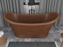 Load image into Gallery viewer, Nero 70 in. Handmade Copper Double Slipper Flatbottom Non-Whirlpool Bathtub in Hammered Antique Copper