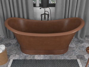 Nero 70 in. Handmade Copper Double Slipper Flatbottom Non-Whirlpool Bathtub in Hammered Antique Copper