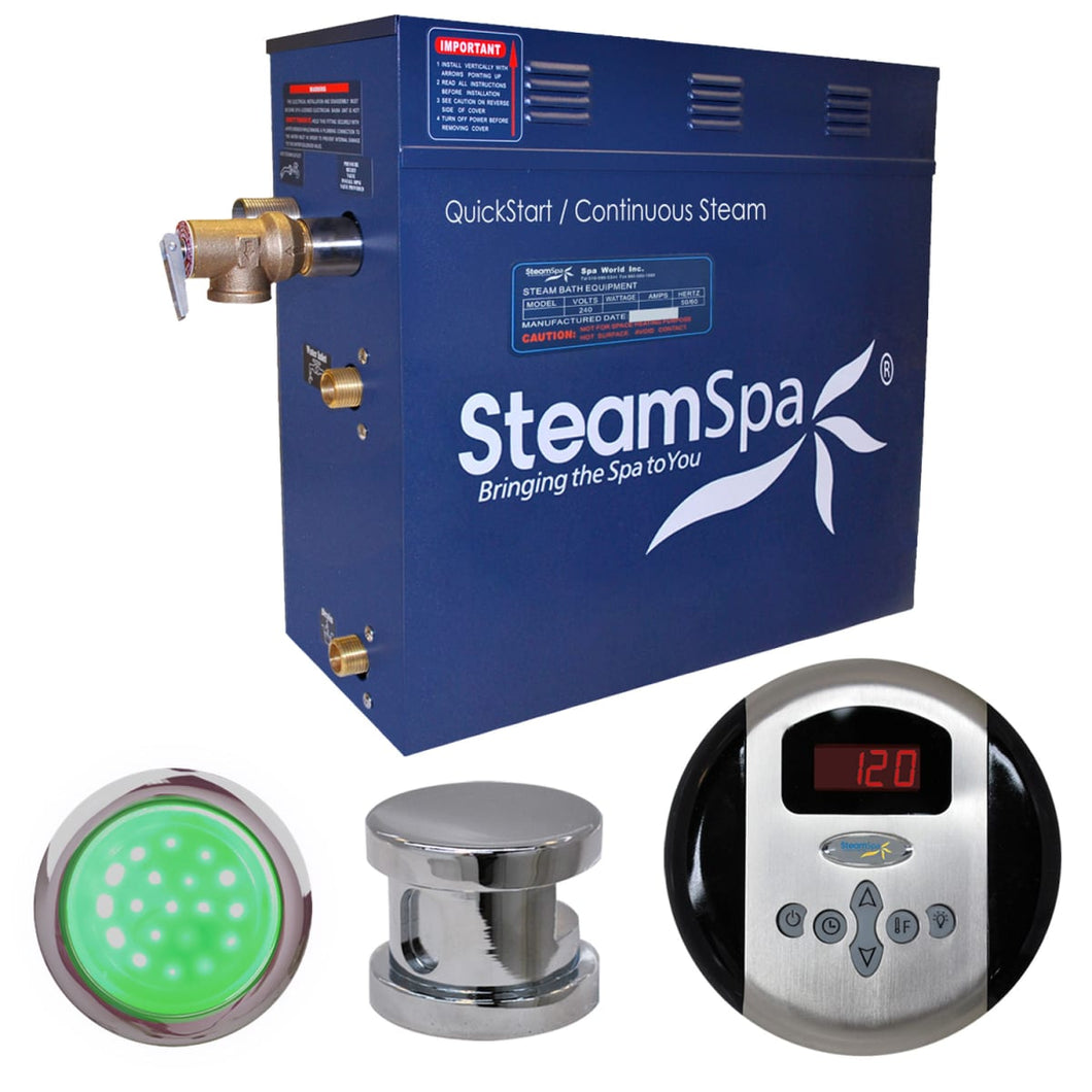 SteamSpa Indulgence QuickStart Acu-Steam Bath Generator Package in Polished Chrome