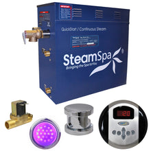 Load image into Gallery viewer, SteamSpa Indulgence QuickStart Acu-Steam Bath Generator Package with Built-in Auto Drain in Polished Chrome