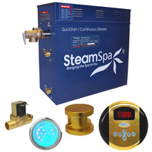 Load image into Gallery viewer, SteamSpa Indulgence QuickStart Acu-Steam Bath Generator Package with Built-in Auto Drain in Polished Gold