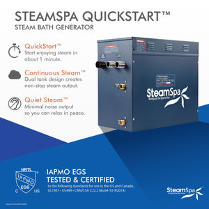 SteamSpa Indulgence QuickStart Acu-Steam Bath Generator Package in Brushed Nickel with Touch Controller