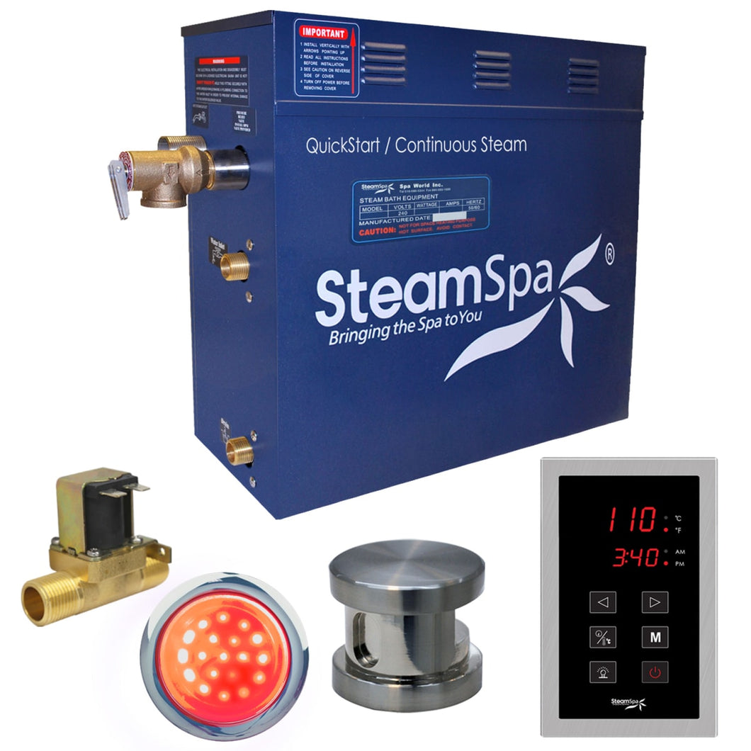 SteamSpa Indulgence QuickStart Acu-Steam Bath Generator Package in Brushed Nickel with Built-in Auto Drain and Touch Controller