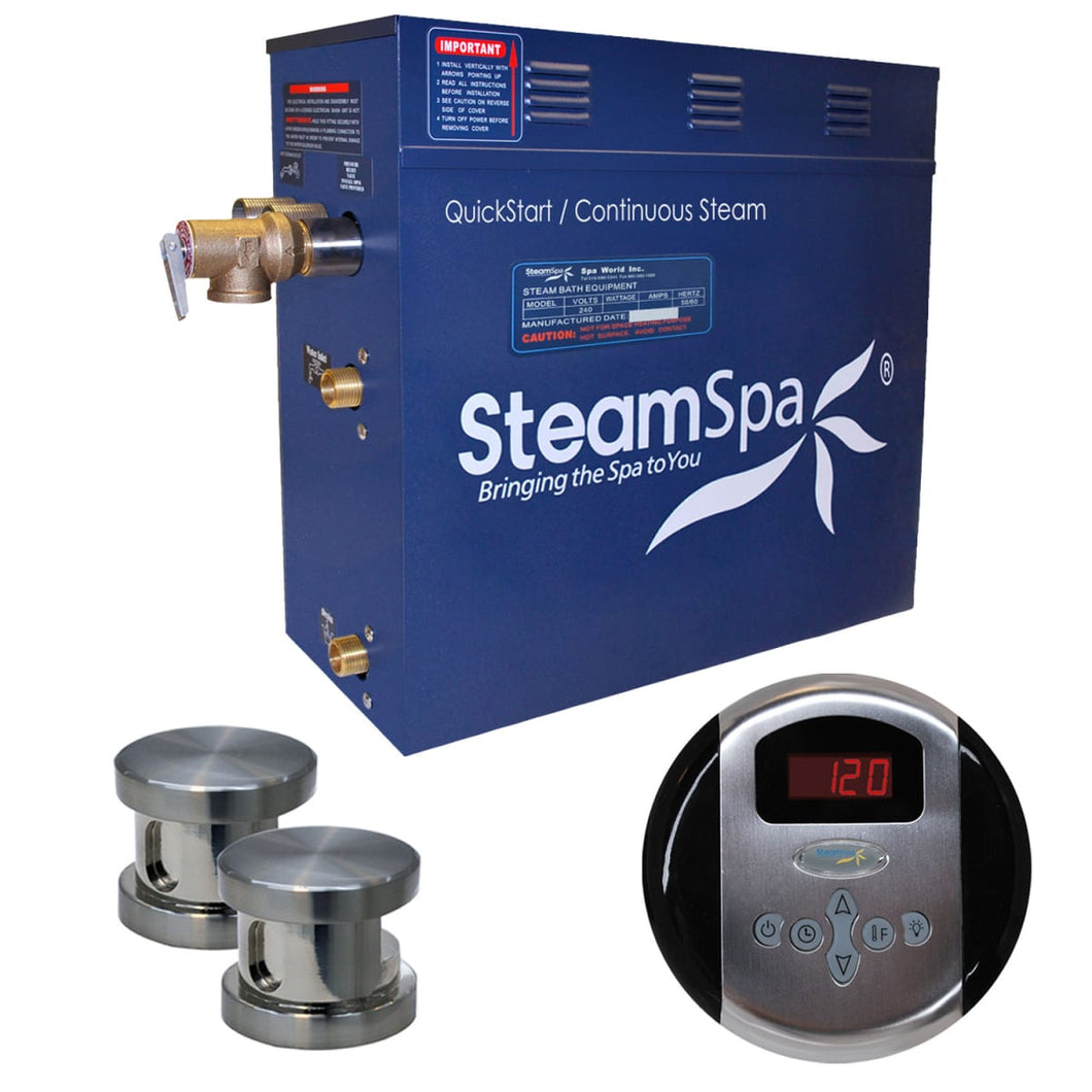 SteamSpa Oasis QuickStart Acu-Steam Bath Generator Package in Brushed Nickel