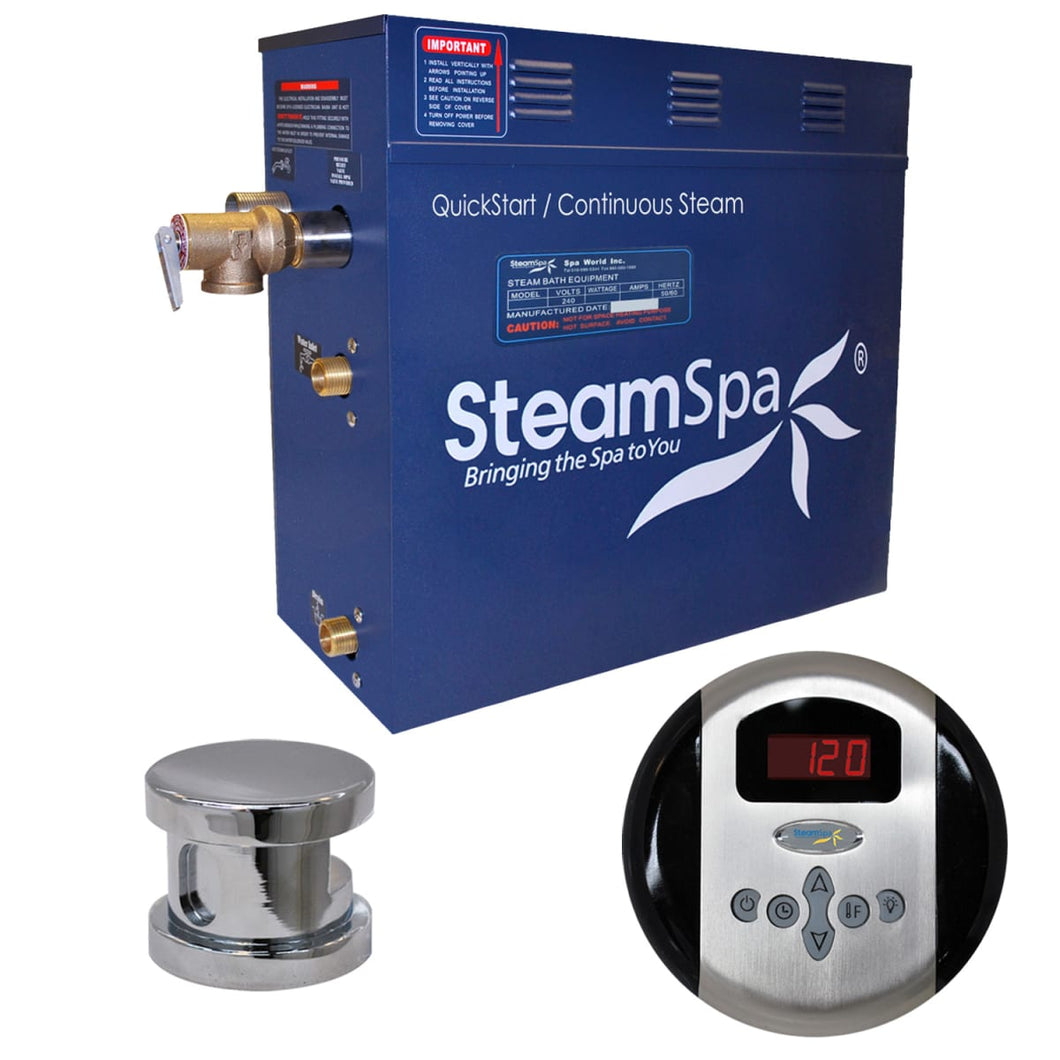 SteamSpa Oasis QuickStart Acu-Steam Bath Generator Package in Polished Chrome