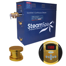 Load image into Gallery viewer, SteamSpa Oasis QuickStart Acu-Steam Bath Generator Package in Polished Gold