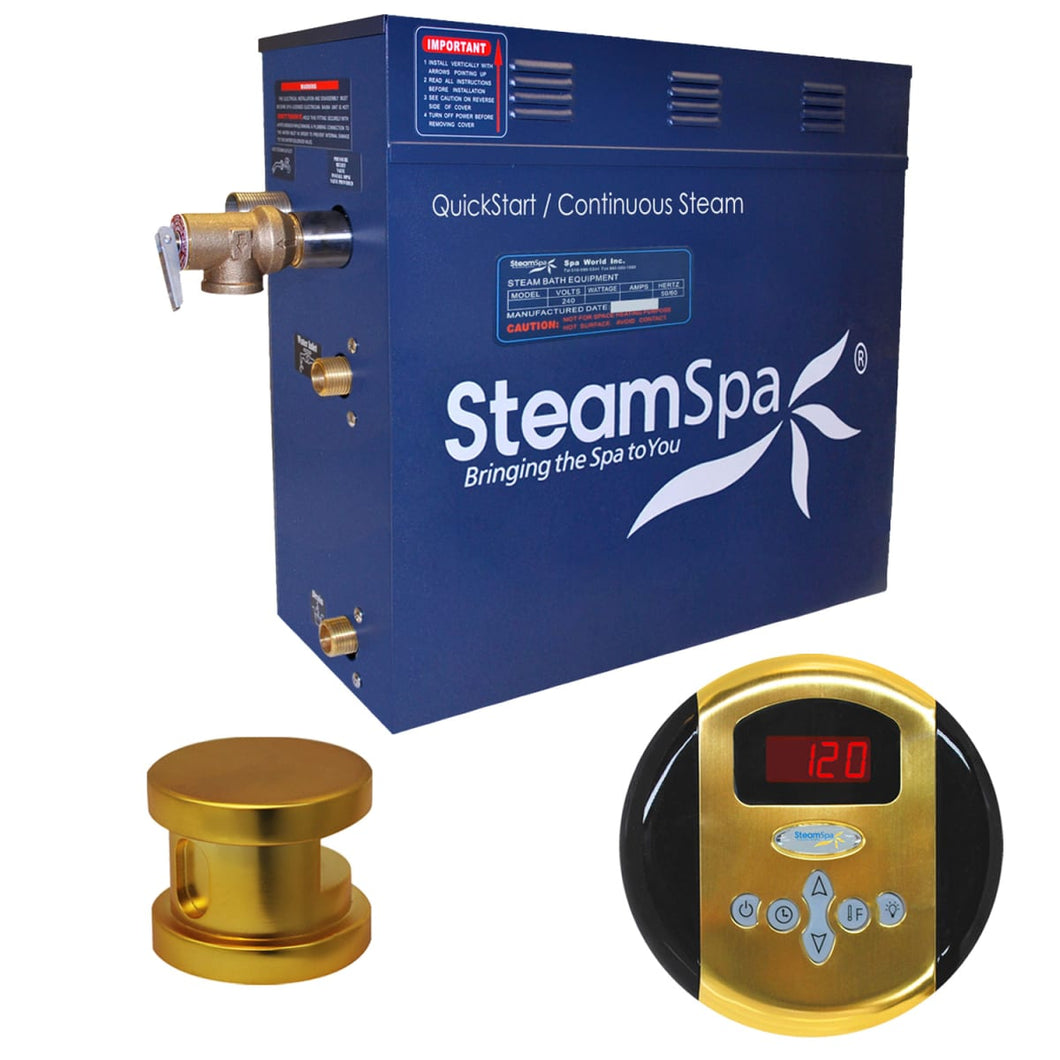 SteamSpa Oasis QuickStart Acu-Steam Bath Generator Package in Polished Gold
