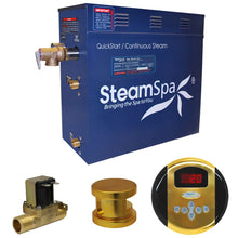 Load image into Gallery viewer, SteamSpa Oasis QuickStart Acu-Steam Bath Generator Package with Auto Drain and Digital Controller in Polished Gold