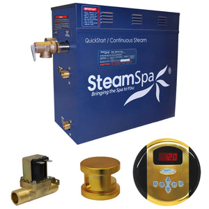 SteamSpa Oasis QuickStart Acu-Steam Bath Generator Package with Auto Drain and Digital Controller in Polished Gold