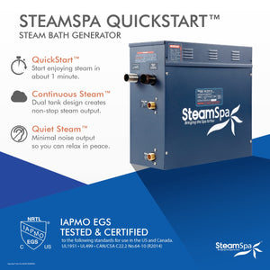 SteamSpa Oasis QuickStart Acu-Steam Bath Generator Package with Built-In Auto Drain and Touch Controller in Polished Chrome
