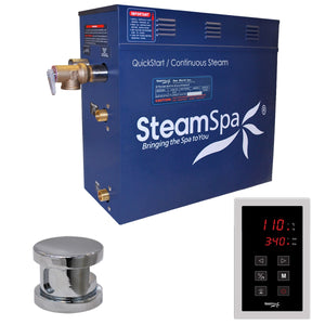 SteamSpa Oasis QuickStart Acu-Steam Bath Generator Package with Touch Controller in Polished Chrome