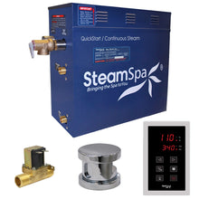 Load image into Gallery viewer, SteamSpa Oasis QuickStart Acu-Steam Bath Generator Package with Built-In Auto Drain and Touch Controller in Polished Chrome