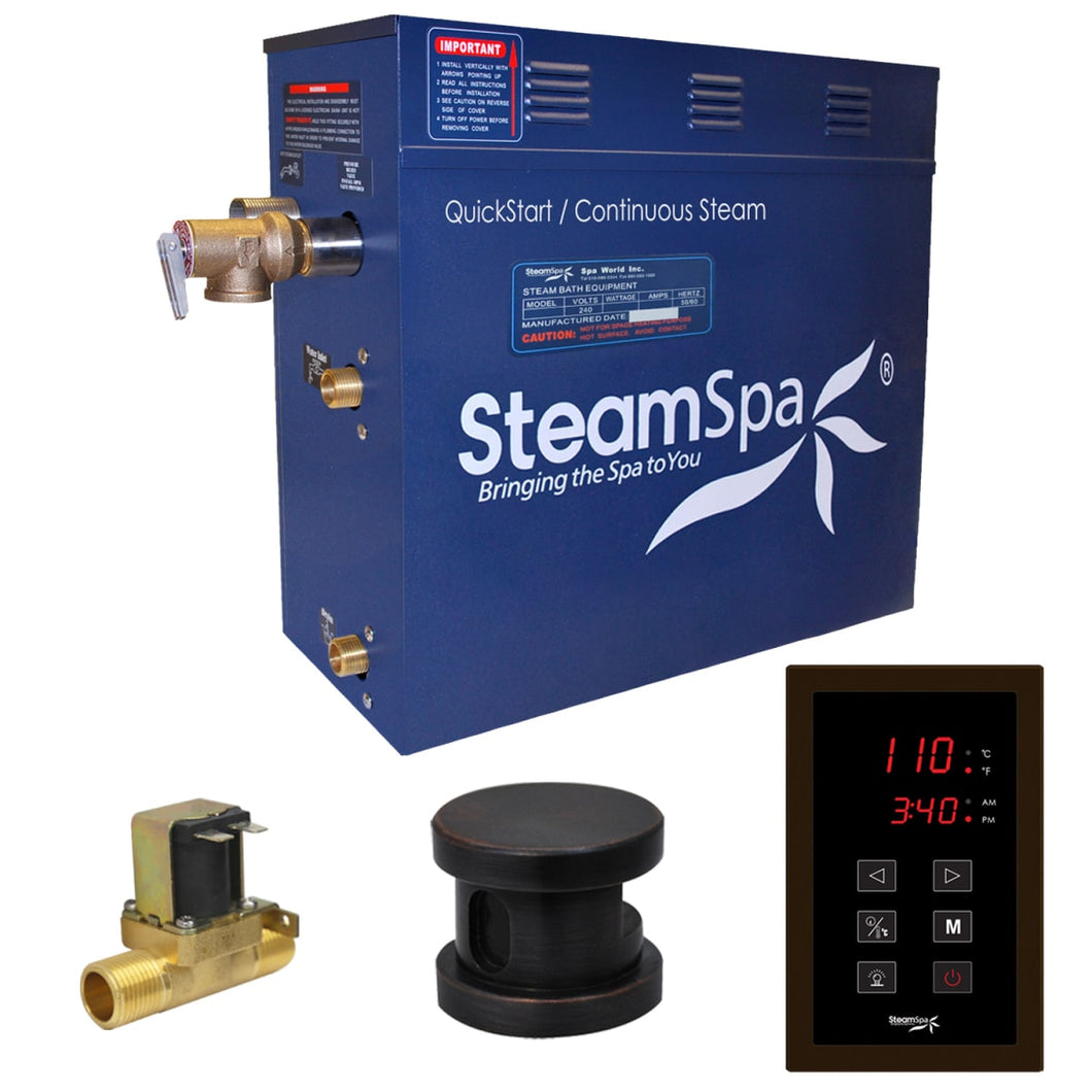 SteamSpa Oasis QuickStart Acu-Steam Bath Generator Package with Built-In Auto Drain and Touch Controller in Oil Rubbed Bronze