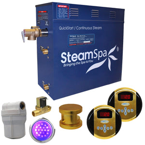SteamSpa Royal QuickStart Acu-Steam Bath Generator Package with Digital Controller and Built-in Auto Drain in Polished Gold