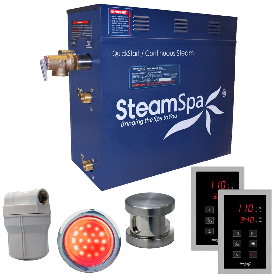 SteamSpa Royal QuickStart Acu-Steam Bath Generator Package in Brushed Nickel with Touch Controller