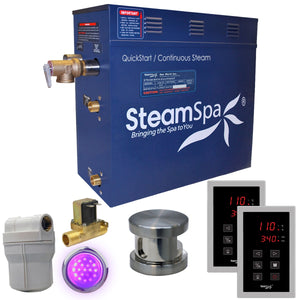 SteamSpa Royal QuickStart Acu-Steam Bath Generator Package with Touch Controller and Built-in Auto Drain in Brushed Nickel