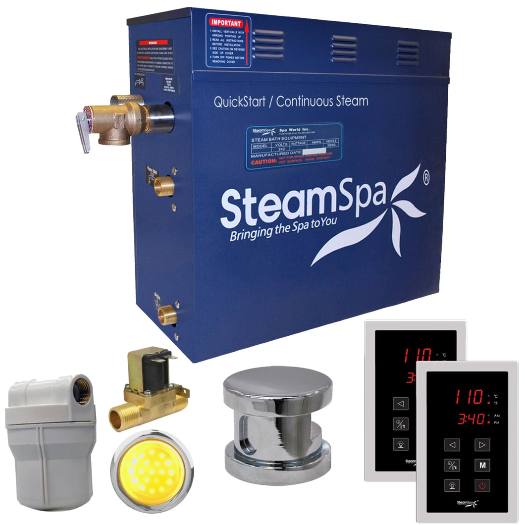 SteamSpa Royal QuickStart Acu-Steam Bath Generator Package with Touch Controller and Built-in Auto Drain in Polished Chrome